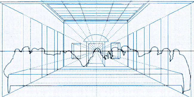 blue and white line drawing of the outlines of The Last Supper