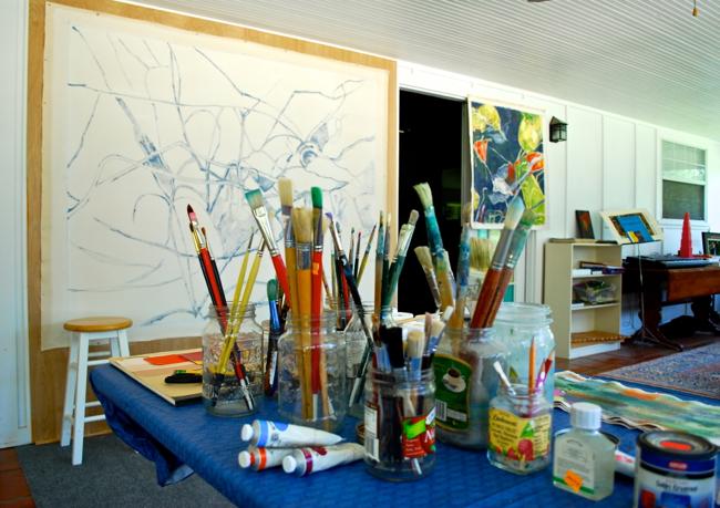 Pintando Instar # 3 en el estudio (foto: Luis Jimenez-Ridruejo)