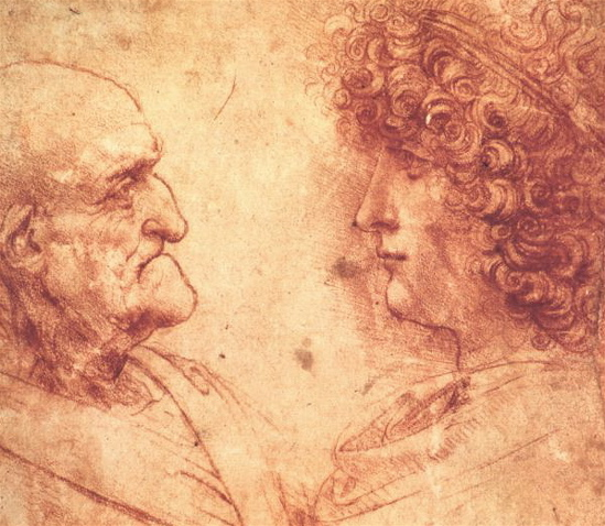 Leonardo da Vinci, drawing of young boy and old man