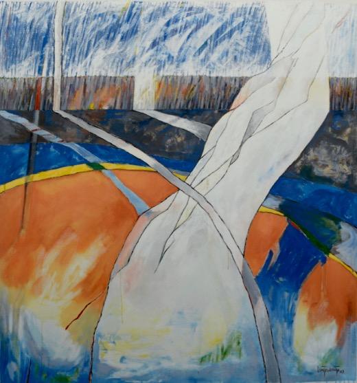 "Luis Jimenez-Ridruejo, Uninhabited Garden #3, acrylic on canvas, 56"" x 60"""