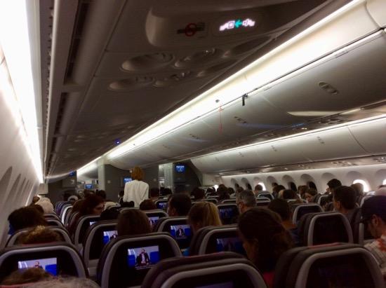 "…Interior del ""American Airlines Boeing 787 Dreamliner"" Foto: Luis Jiménez-Ridruejo."