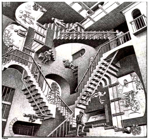 Relatividad, de M.C. Escher (1953)